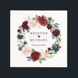 """Burgundy Red Blush Blue Floral Wreath Wedding Napkin<br><div class=""""desc"""">Burgundy Red Blush Blue Floral Wreath Wedding Reception / Party Napkin. (1) For further customization,  please click the """"Customize"""" button and use our design tool to modify this template.  (2) If you need help or matching items,  please contact me.</div>"""