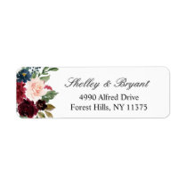 Burgundy Red Blush Blue Watercolor Floral Label