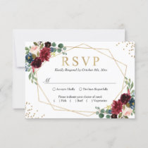Burgundy Red Blush Floral Blue Gold Glitters RSVP