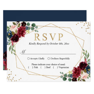 Burgundy Red Blush Floral Blue Gold Glitters RSVP Invitation