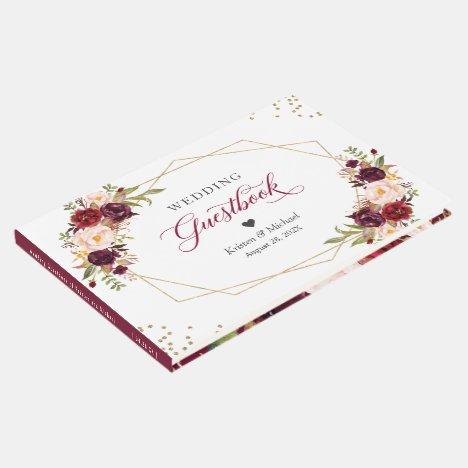 Burgundy Red Blush Floral Gold Geometric Wedding Guest Book