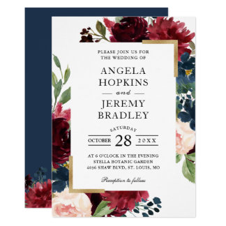 Burgundy Red Blush Floral Navy Blue Gold Wedding Invitation