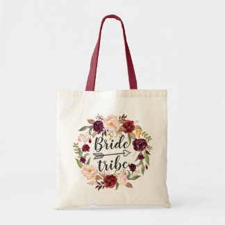 Burgundy Red Blush Floral Wreath Bride Tribe Tote Bag