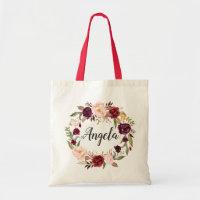 Burgundy Red Blush Floral Wreath Bridesmaid Tote Bag