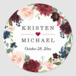 "Burgundy Red Blush Floral Wreath Wedding Favor Classic Round Sticker<br><div class=""desc"">Burgundy Red Blush Floral Wreath Wedding Favor Sticker.  (1) For further customization,  please click the ""customize further"" link and use our design tool to modify this template.  (2) If you need help or matching items,  please contact me.</div>"