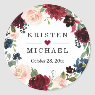 Burgundy Red Blush Floral Wreath Wedding Favor Classic Round Sticker
