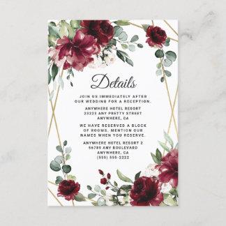 Burgundy Red Blush Gold Geometric Greenery Wedding Enclosure Card