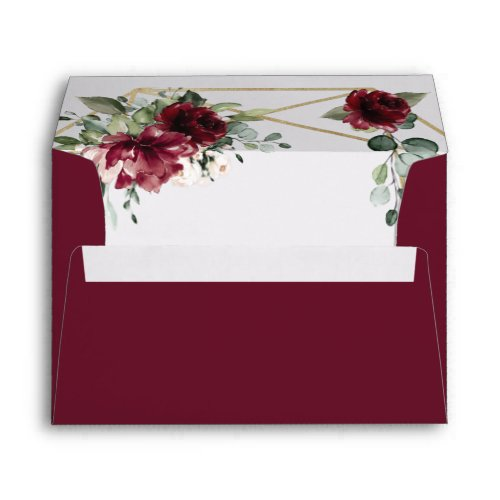 Burgundy Red Blush Gold Geometric Greenery Wedding Envelope