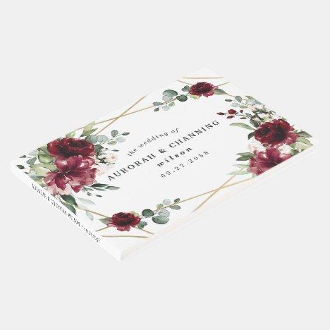 Burgundy Red Blush Gold Geometric Greenery Wedding Guest Book