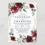"""Burgundy Red Blush Gold Geometric Greenery Wedding Invitation<br><div class=""""desc"""">Design features a printed gold colored geometric frame with floral elements in shades of burgundy,  red and blush over greenery,  eucalyptus and flower blooms.  Design also features an easy to use typography layout.</div>"""