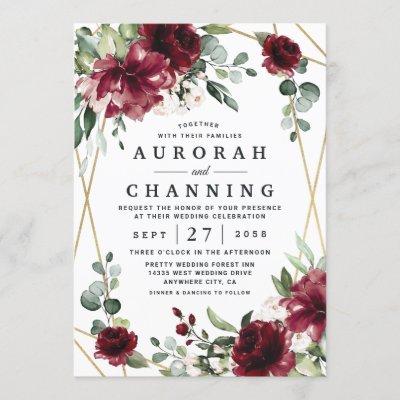 Burgundy Red Blush Gold Geometric Greenery Wedding Invitation