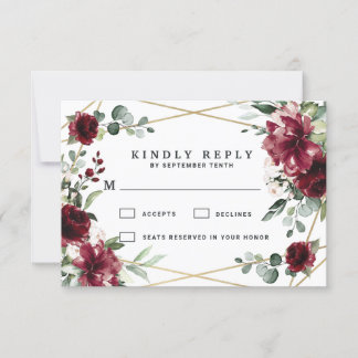 Burgundy Red Blush Gold Geometric Greenery Wedding RSVP Card