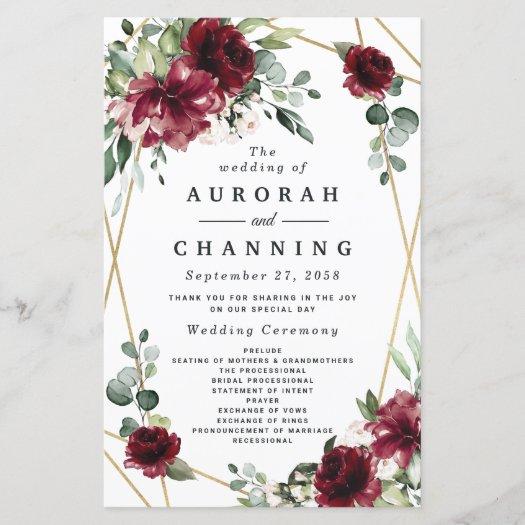 Burgundy Red Blush Gold Greenery Wedding Programs