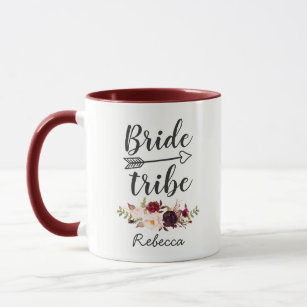 Burgundy Red Boho Floral Bridesmaid Bride Tribe Mug