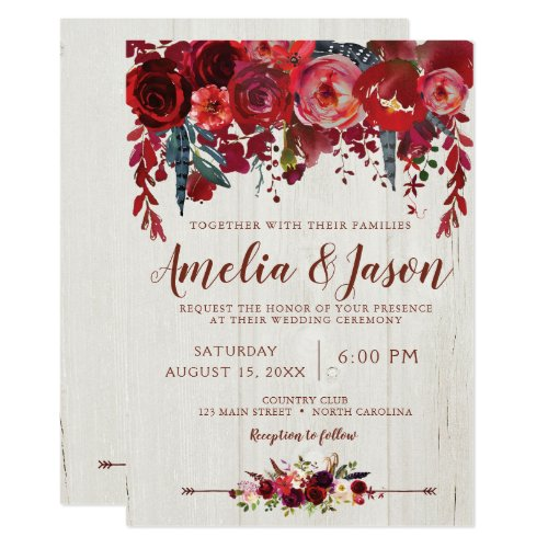 Burgundy Red Boho Floral Wedding Invitations