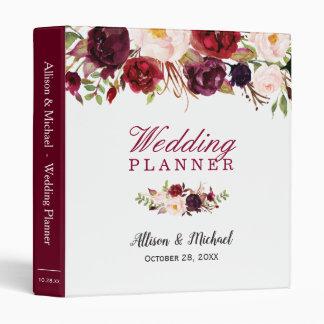 Burgundy Red Botanical Floral Wedding Planner Binder