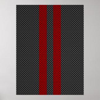 Burgundy Red Carbon Fiber Like Racing Stripes Poster