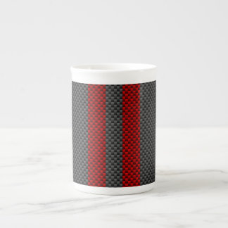 Burgundy Red Carbon Fiber Style Racing Stripes Tea Cup