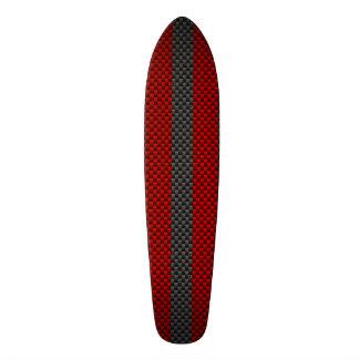 Burgundy Red Carbon Fiber Style Stripes Skateboard