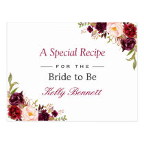 Burgundy Red Chic Floral Bridal Shower Recipe Postcard
