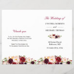 """Burgundy Red Chic Floral Folded Wedding Program<br><div class=""""desc"""">Create the perfect wedding program with this &quot;Burgundy Red Chic Floral&quot; template. This high-quality design is easy to customize to be uniquely yours! (1) Note that the cards arrive flat, and you&#39;ll need to Fold Down the Middle to convert them to folded papers. (2) For further customization, please click the...</div>"""