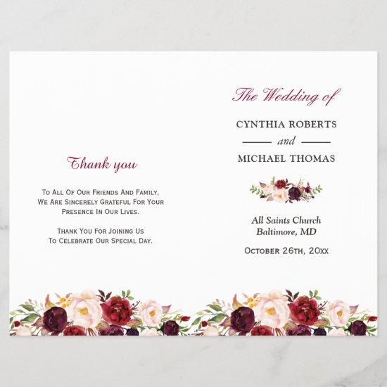 Burgundy Red Chic Floral Folded Wedding Program