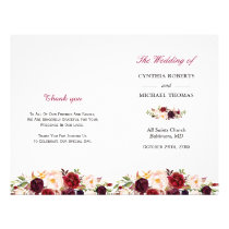 Burgundy Red Chic Floral Folded Wedding Program