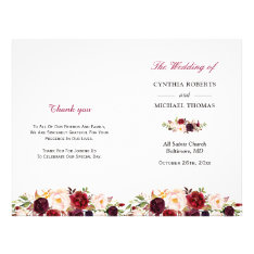 Burgundy Red Chic Floral Folded Wedding Program at Zazzle