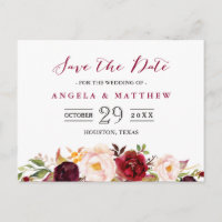 Burgundy Red Chic Floral Wedding Save the Date Announcement Postcard