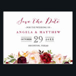 "Burgundy Red Chic Floral Wedding Save the Date Postcard<br><div class=""desc"">================= ABOUT THIS DESIGN ================= Burgundy Marsala Red Chic Floral Wedding Save the Date Postcard . (1) For further customization, please click the &quot;Customize&quot; button and use our design tool to modify this template. The black background and text color is changeable. (2) If you need help or matching items, please...</div>"