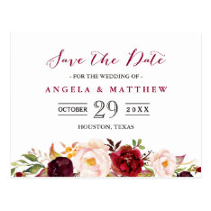 Burgundy Red Chic Floral Wedding Save The Date Postcard at Zazzle