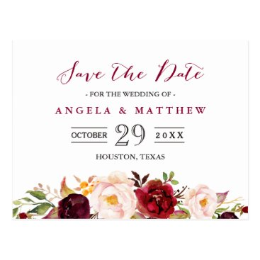 CardHunter Burgundy Red Chic Floral Wedding Save the Date Postcard