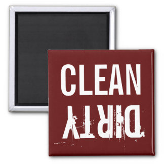 Burgundy Red Clean Dirty Dishwasher Kitchen Magnet