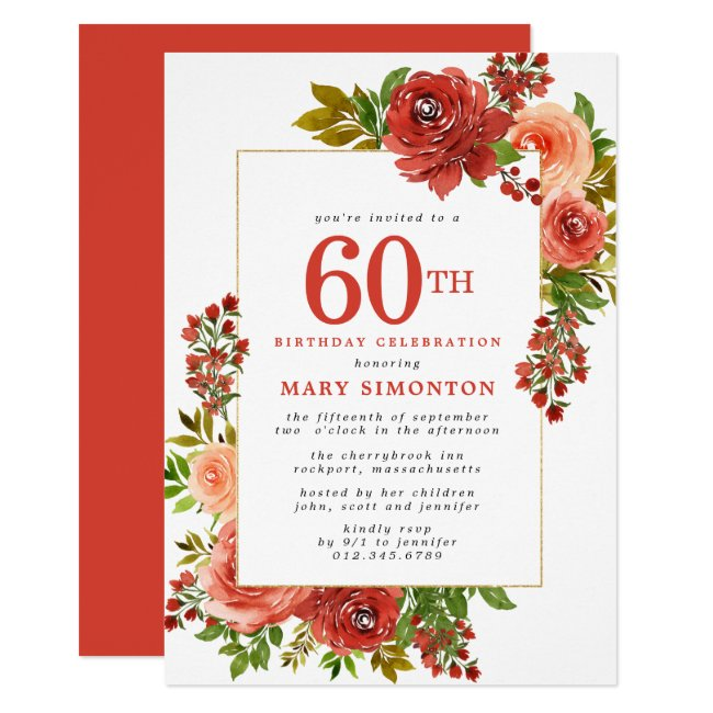 Burgundy Red Coral Pink Rose 60th Birthday Invitation