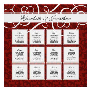 red table wedding seating charts zazzle