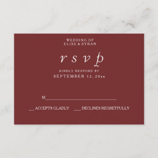 Burgundy Red Elegant Modern Wedding RSVP