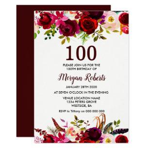 Floral 100th Birthday Invitations Zazzle