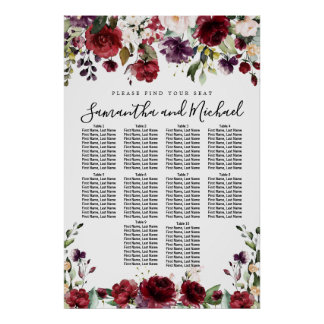 Burgundy Red Floral 10-Table Wedding Seating Chart