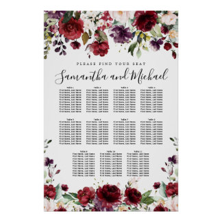 Burgundy Red Floral 11-Table Wedding Seating Chart