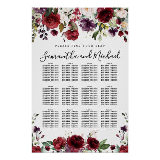 Burgundy Red Floral 12-Table Wedding Seating Chart