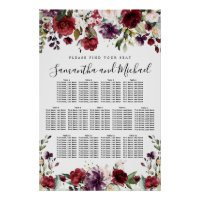 Burgundy Red Floral 13-Table Wedding Seating Chart