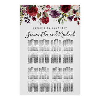Burgundy Red Floral 16-Table Wedding Seating Chart