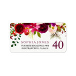 """Burgundy Red Floral 40th Birthday Address Label<br><div class=""""desc"""">Burgundy Red Floral 40th Birthday Address Label  Wedding Invitation Matching collection in Niche and Nest store. Boho chic burgundy red white watercolor floral Beautiful hand painted watercolor illustration</div>"""