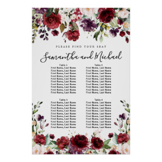 Burgundy Red Floral 4-Table Wedding Seating Chart