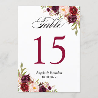 Burgundy Red Floral 5x7 Wedding Table Number