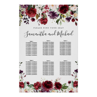 Burgundy Red Floral 6-Table Wedding Seating Chart