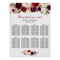 Burgundy Red Floral 8 Tables Wedding Seating Chart