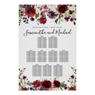 Burgundy Red Floral 9-Table Wedding Seating Chart