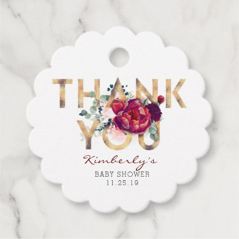 Burgundy Red Floral Baby Shower Thank You Favor Tags