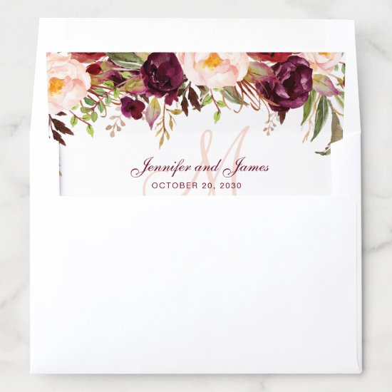 Burgundy Red Floral Blush Monogram Rustic Wedding Envelope Liner